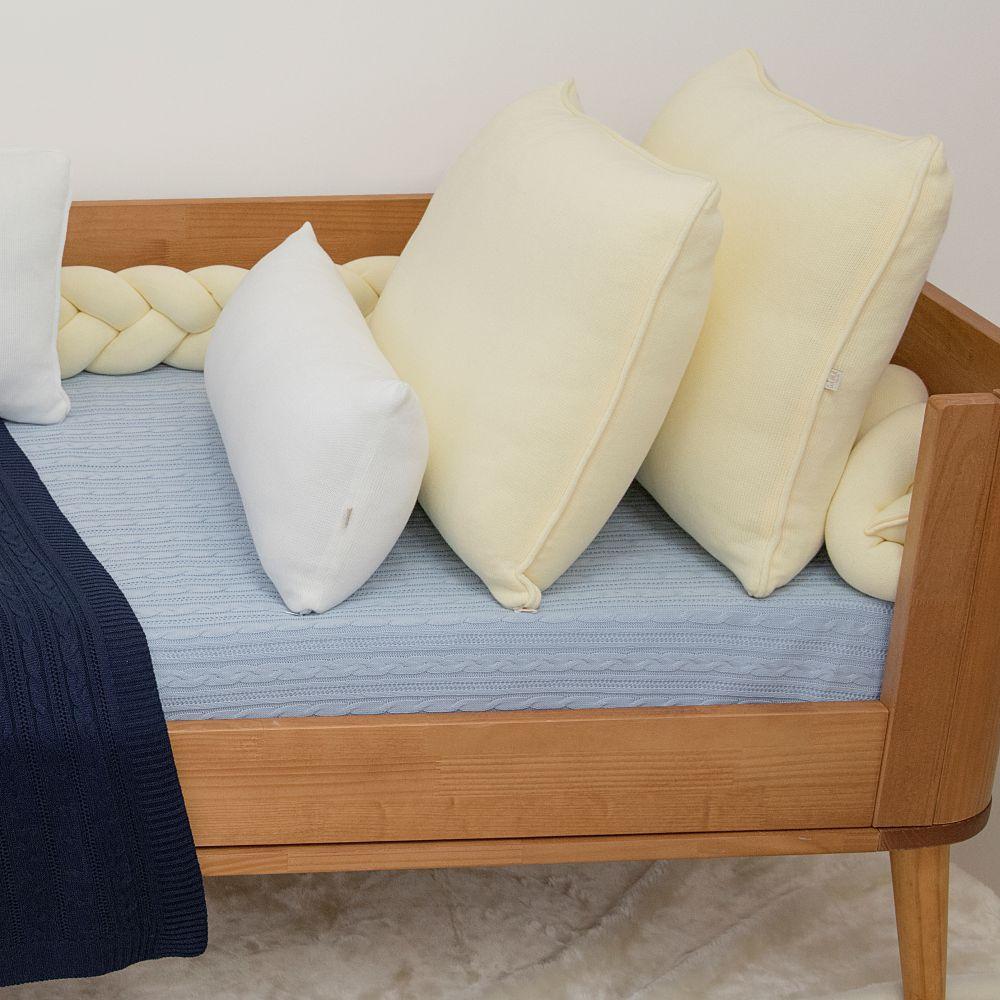 Cobre Leito Para Cama Auxiliar Tricot  Lauren Azul Bebê