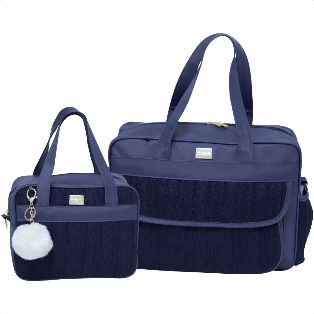 Conjunto de Bolsas 2 Peças Tricot Lovers Azul Marinho