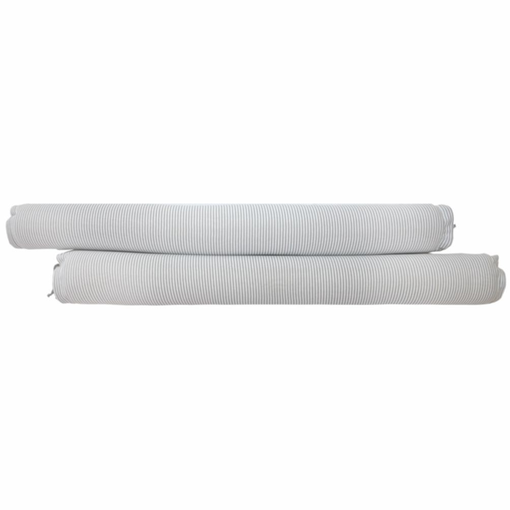 Conjunto de Rolos para Berço Tricot Benjamin Cinza com Branco (1,20 cm x 18 cm)