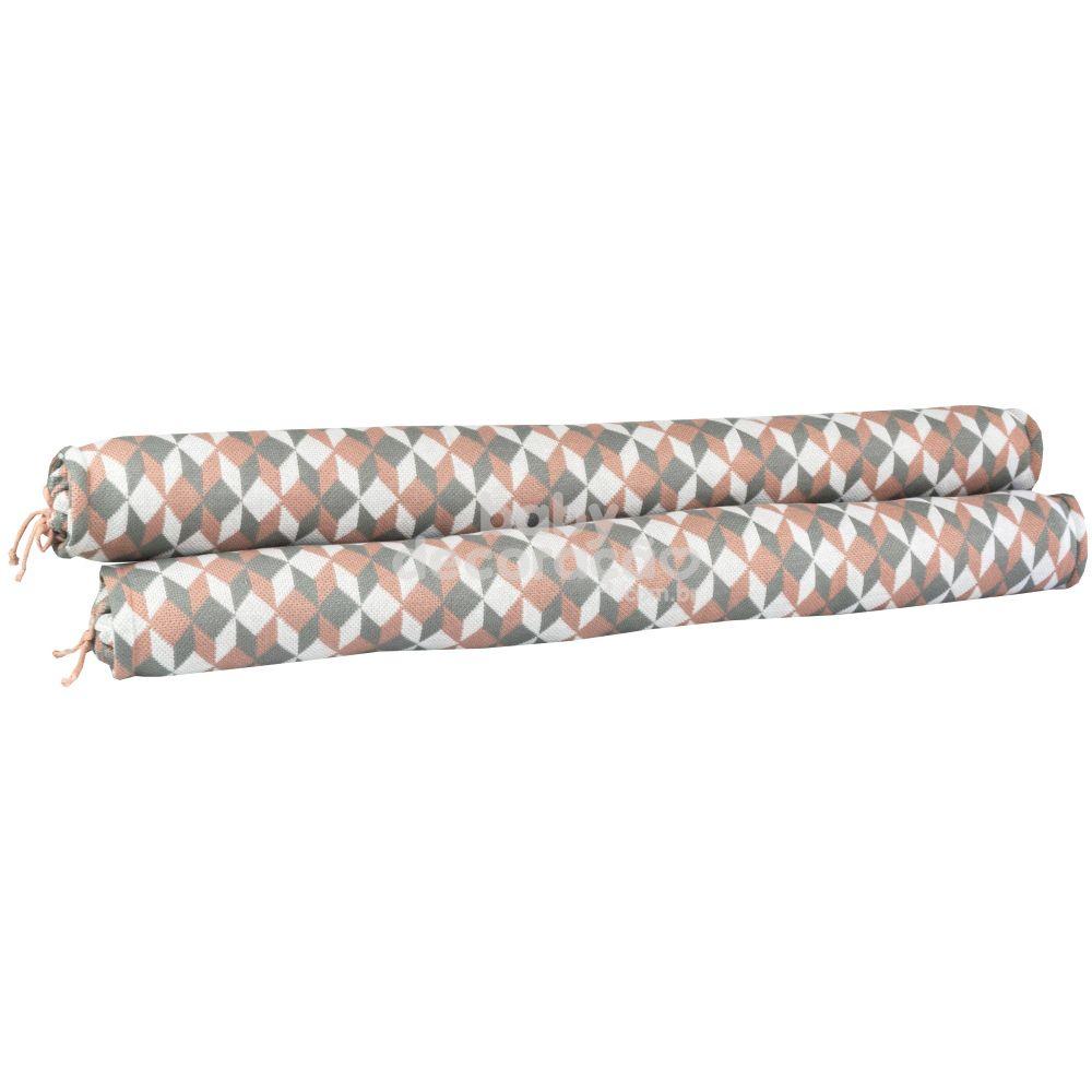 Conjunto de Rolos para Berço Tricot Celine Rosê, Cinza e Branco (1,20 cm x 13 cm)