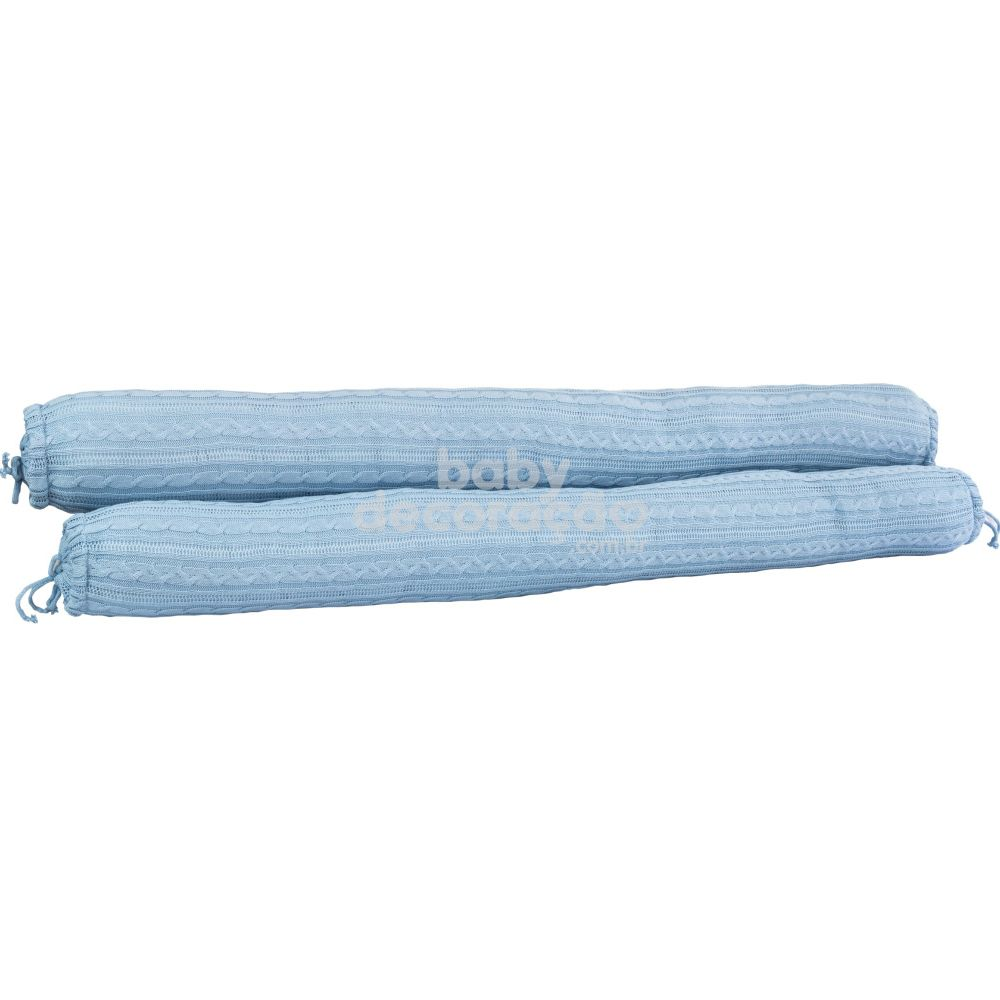 Conjunto de Rolos para Berço Tricot Lauren Azul Bebê (1,20 cm x 13 cm)