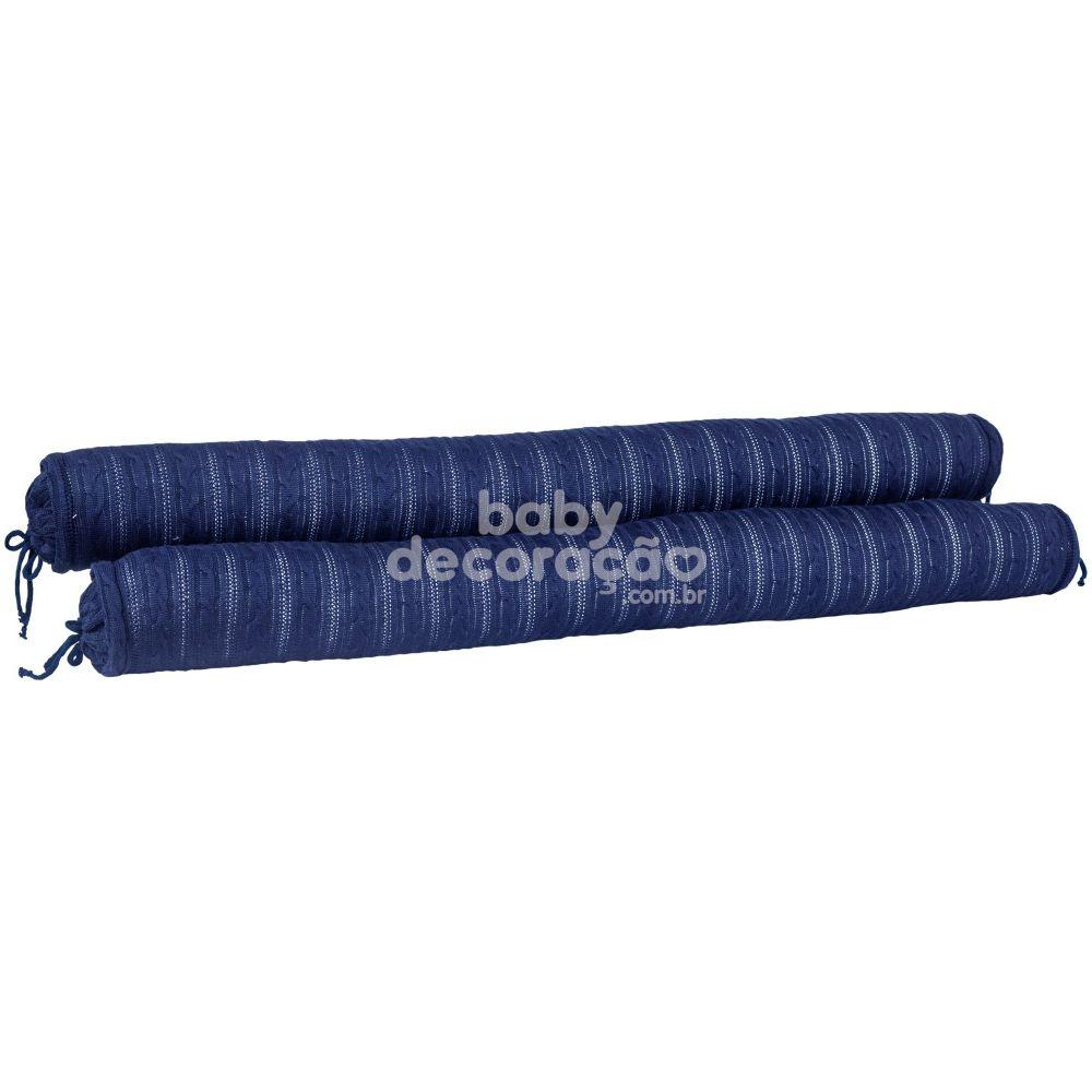 Conjunto de Rolos para Berço Tricot Lauren Azul Marinho (1,20 cm x 13 cm)