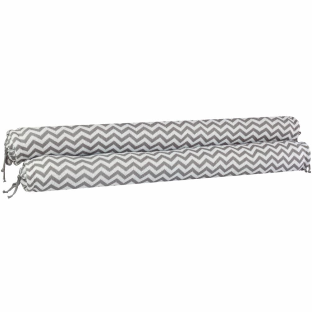 Conjunto de Rolos para Berço Tricot Sebastian Cinza com Branco (1,20 cm x 13 cm)