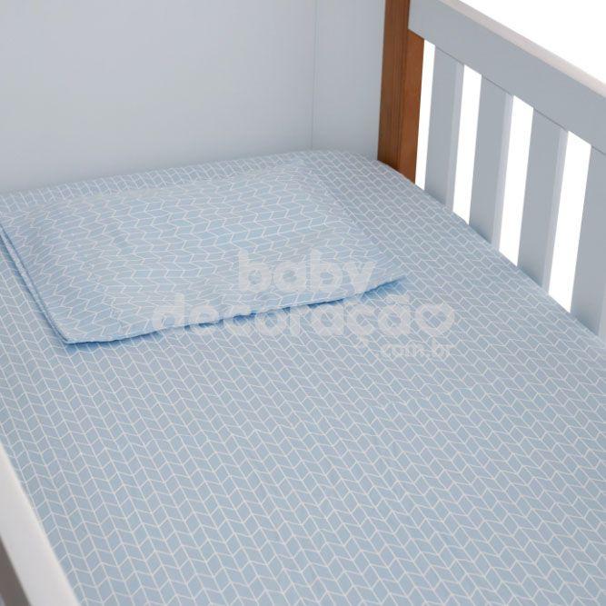 Jogo de Lençol de Berço 02 Peças Estampado 180 Fios Minimalist Azul Bebê