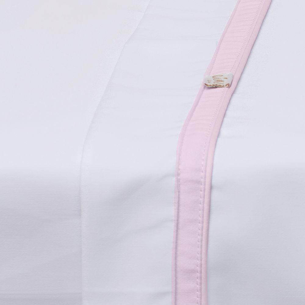 Jogo de Lençol de Berço 03 Peças Algodão Percal 300 Fios Basic Branco com Rosa