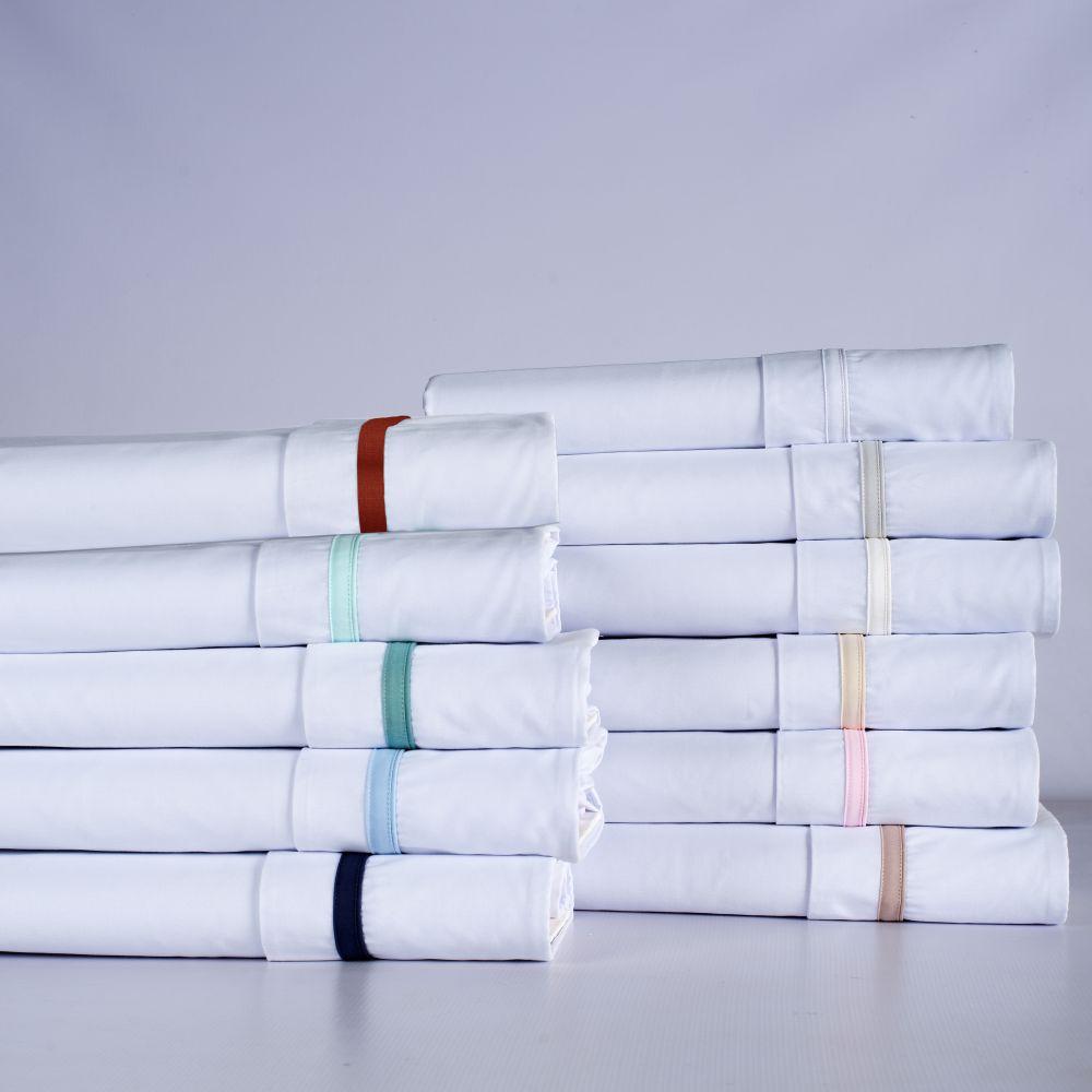 Jogo de Lençol de Berço 03 Peças Algodão Percal 300 Fios Basic Branco com Marfim