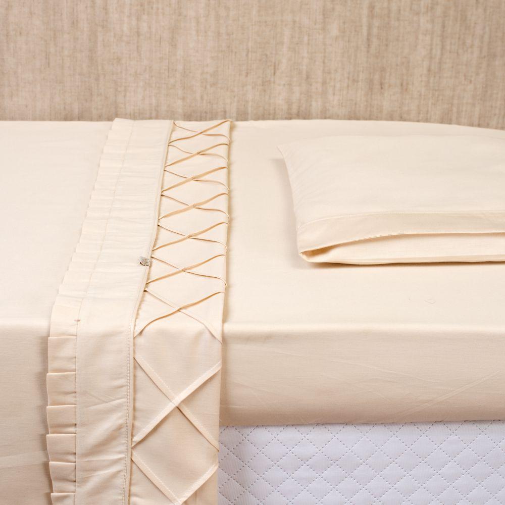 Jogo de Lençol de Berço 03 Peças Percal 300 Fios Pregas Off White