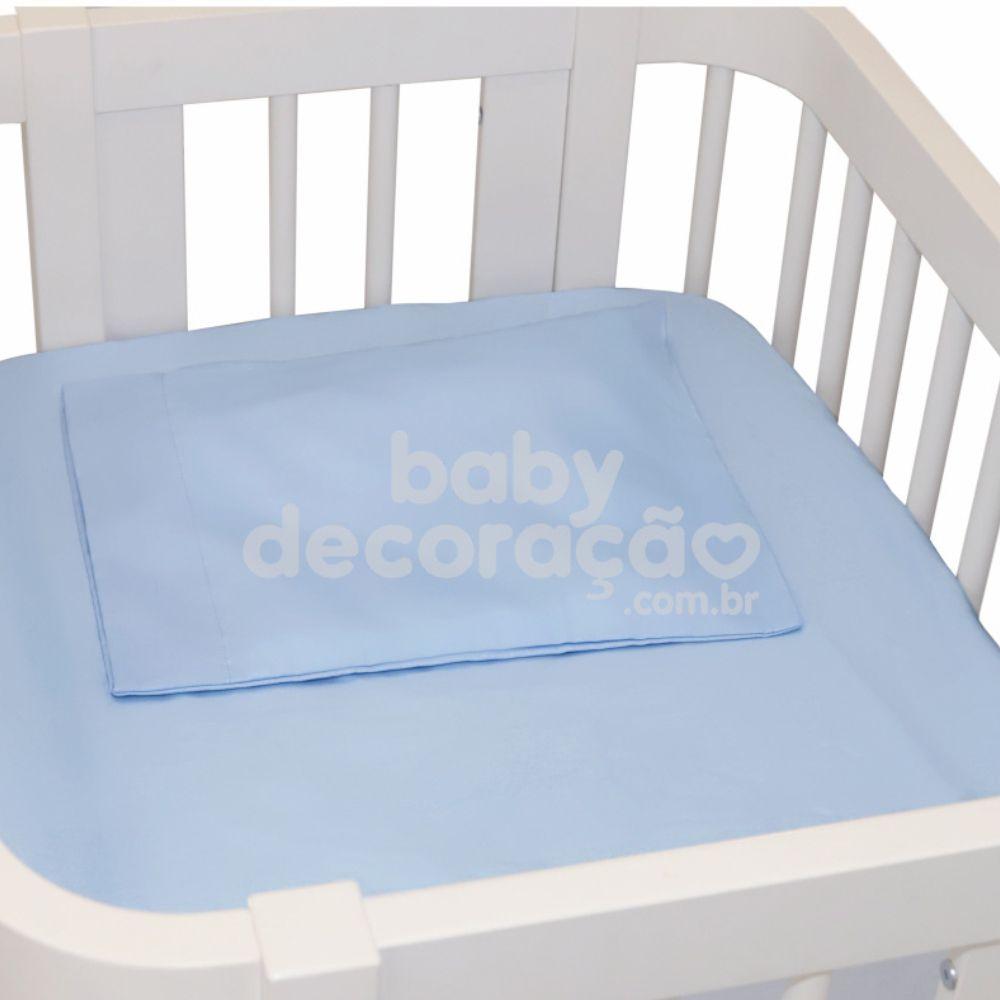 Lençol para Mini Berço c/ Elastico 02 Peças Percal 300 Fios Azul Bebê