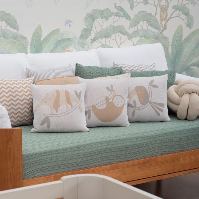 Kit Cama Auxiliar 11 peças Tricot c/ Almofadas Decorativas Fauna