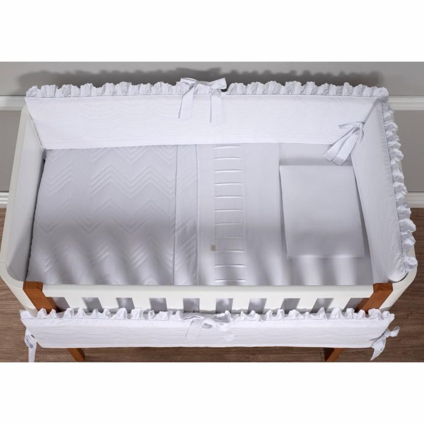 Kit de Berço 07 Peças Ashley Percal 300 Fios Branco