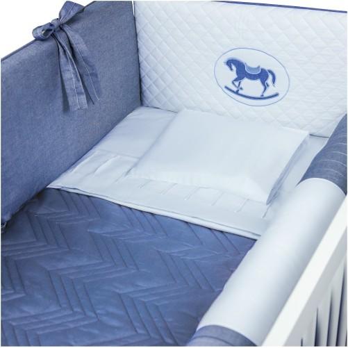 Kit de Berço 07 Peças Cavalinho Percal 300 Fios Azul Jeans
