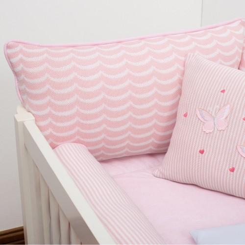 Kit de Berço 07 Peças Tricot  Fiorella Com Almofada Decorativa Rosa