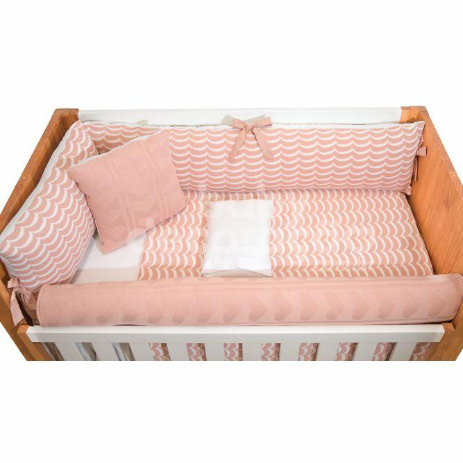 Kit de Berço 07 Peças Tricot Jordana Com Almofada Decorativa Rosê