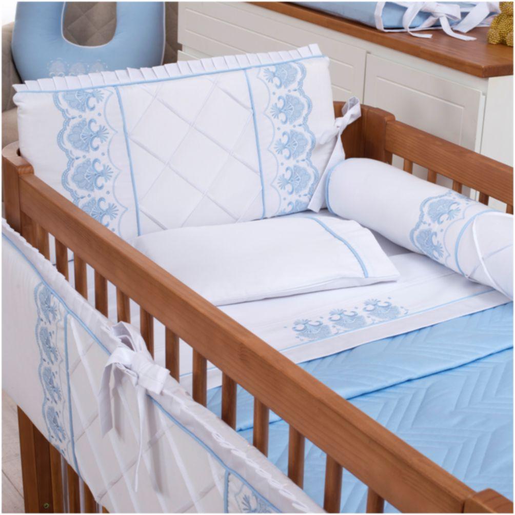 Kit De Berço 08 Peças 300 Fios Elegance Branco com Azul Bebê