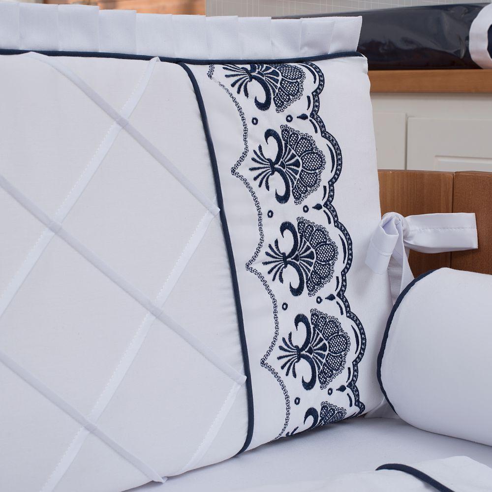 Kit De Berço 08 Peças 300 Fios Elegance Branco com Azul Marinho