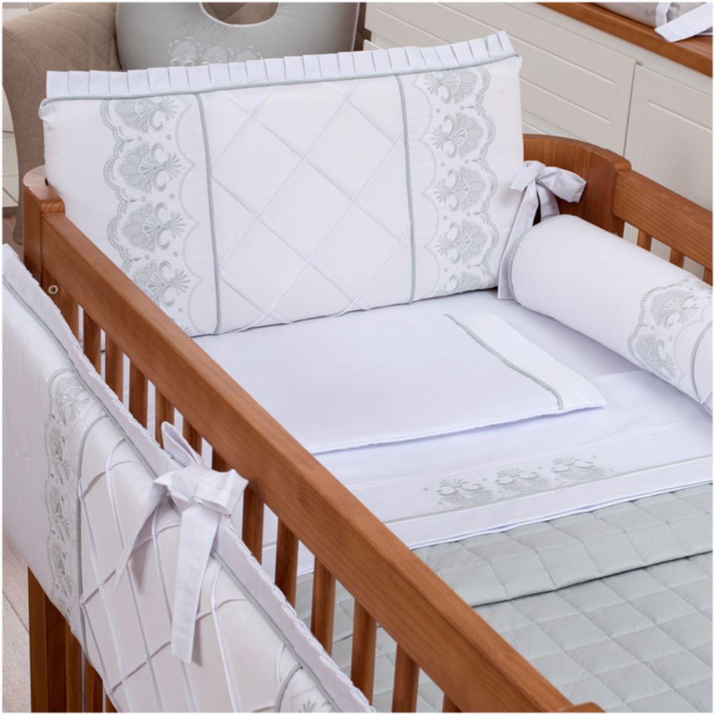 Kit De Berço 08 Peças 300 Fios Elegance Branco com Cinza