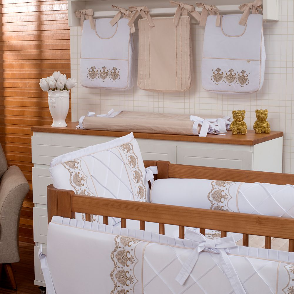 Kit De Berço 08 Peças 300 Fios Elegance Branco com Off White