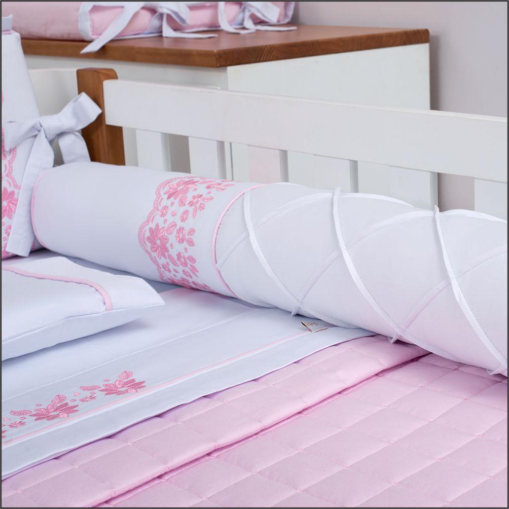 Kit De Berço 08 Peças 300 Fios Florence Blush Branco com Rosa