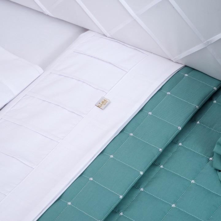Kit de Berco 08Pcs 300 Fios Tenue Branco c/ Verde Balsamo