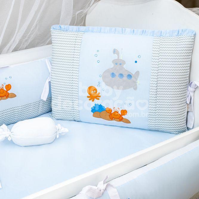 Kit de Berço 09 Peças Fundo do Mar Azul Bebê Brubrelel Baby