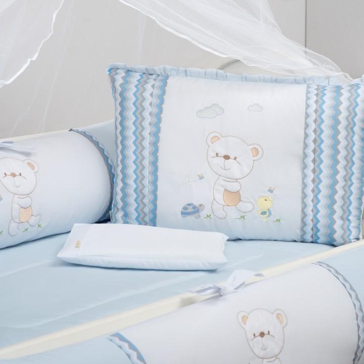 Kit de Berço 09 Peças Ursinho Catatau Azul Bebe Brubrelel Baby