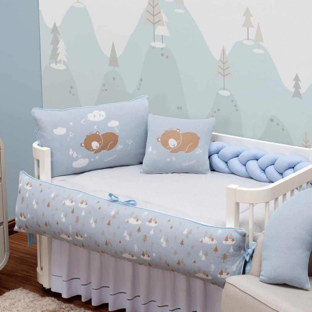 Kit de Berço 09 Peças Ursinho Romeo Baby Trico Azul Bebê c/ Caqui Brubrelel Baby