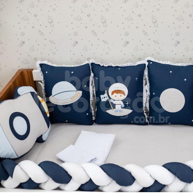 Kit de Berço 10 Peças Astronauta Baby Magia Azul Marinho Brubrelel Baby