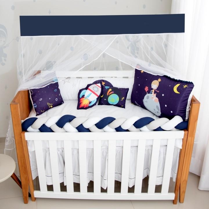 Kit de Berço 10 Peças Fofura Planet Azul Marinho Brubrelel Baby