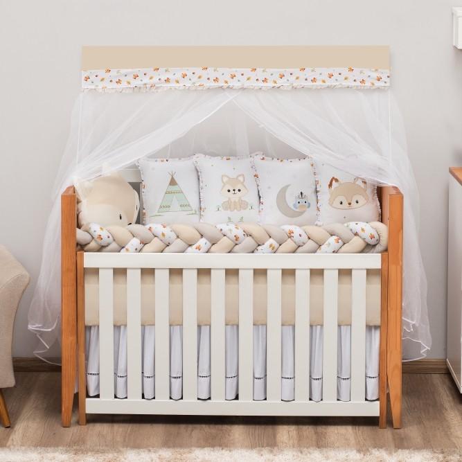 Kit de Berço 10 Peças Raposinha Baby Magia Caqui Brubrelel Baby
