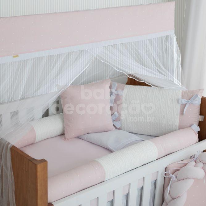 Kit De Berço 9 Peças Cherie Tricot Encanto Rosa  Brubrelel Baby