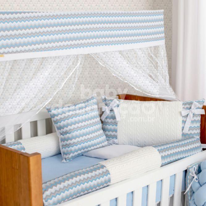 Kit De Berço 9 Peças Holly Tricot Encanto Azul Bebê Brubrelel Baby