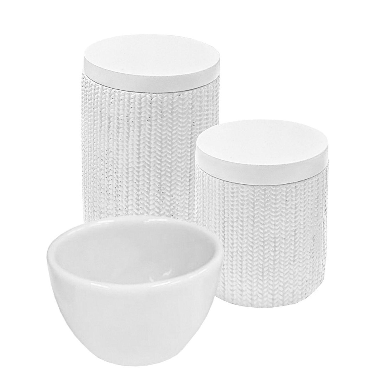 Kit Higiene 03 Peças Tricot Branco