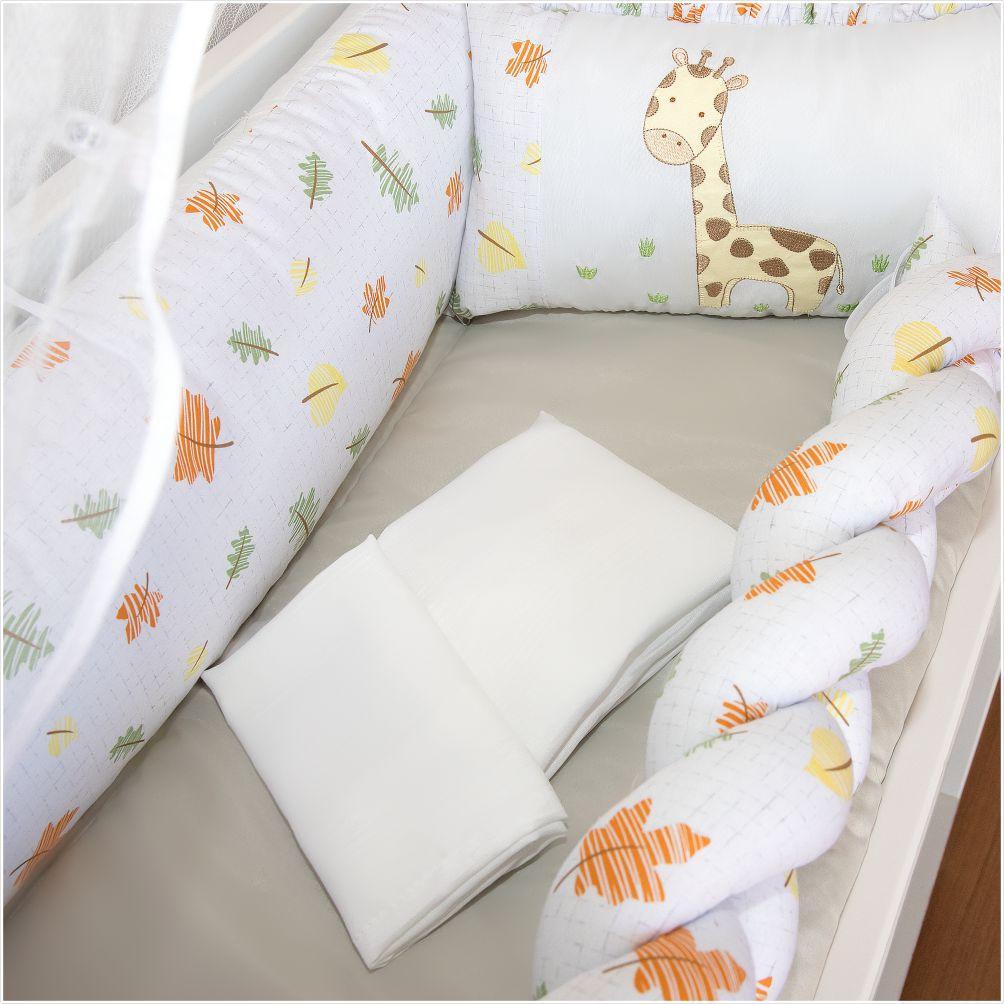 Kit Mini Berço 07 Peças Trança Baby Giraffe Cinza