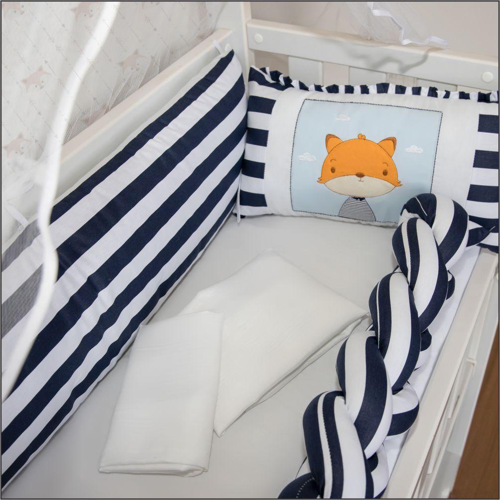 Kit Mini Berço 07 Peças Trança Fox Azul Marinho