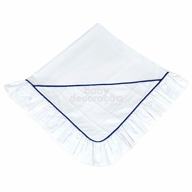 Manta para Bebê Percal 300 fios Nervurada Branco com Azul Marinho
