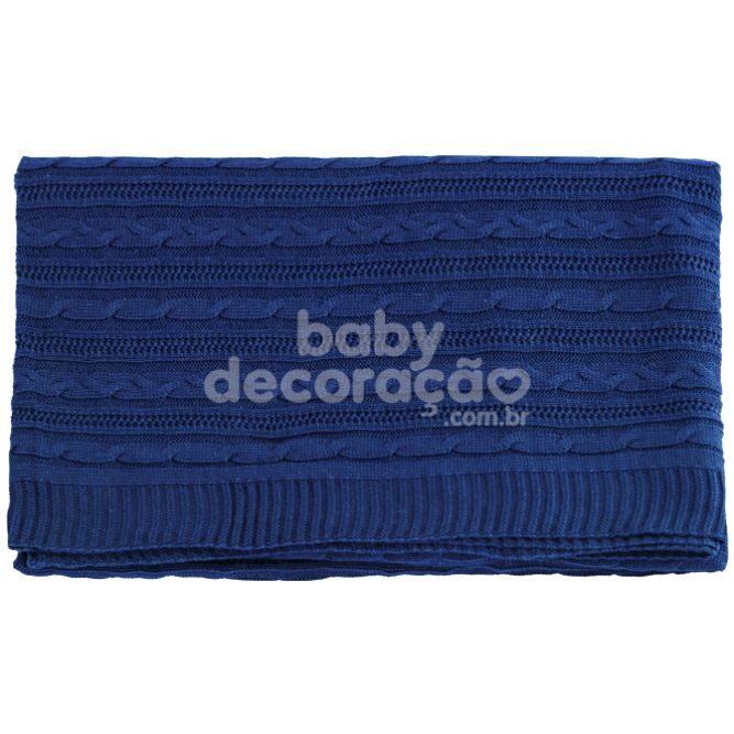 Manta para Bebê Tricot Lauren Azul Marinho