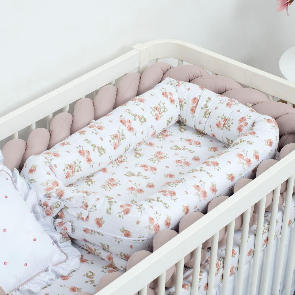Ninho para bebê Redutor de Berço Arabela 100% Algodão Percal 180 Fios Rosê
