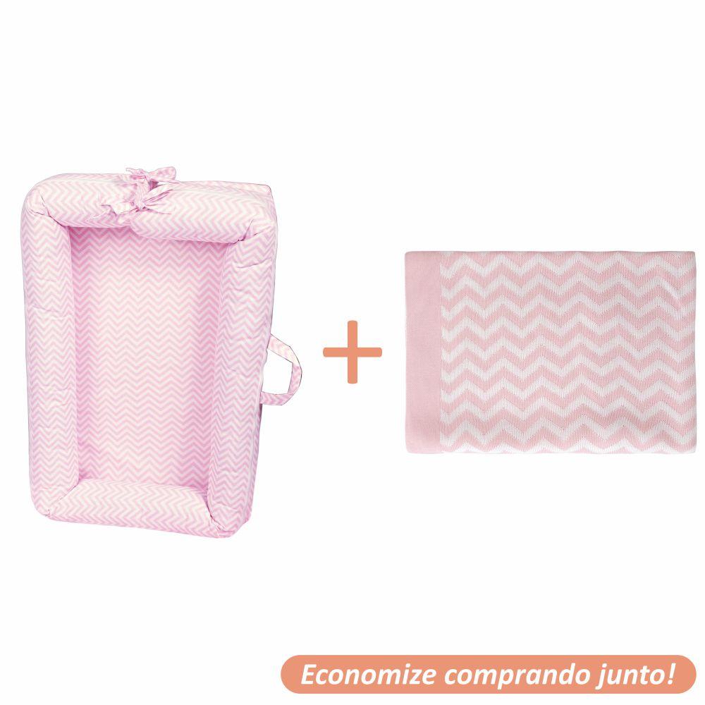 Ninho Redutor Chevron + Manta Sebastian Rosa c/ Branco