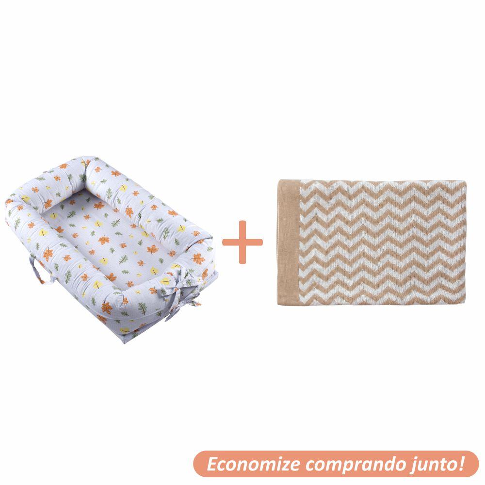 Ninho Redutor Folhas + Manta Sebastian Bege c/ Branco