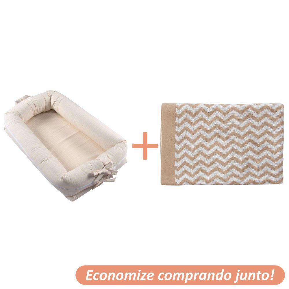 Ninho Redutor Geometric Cáqui + Manta Sebastian Bege c/ Branco