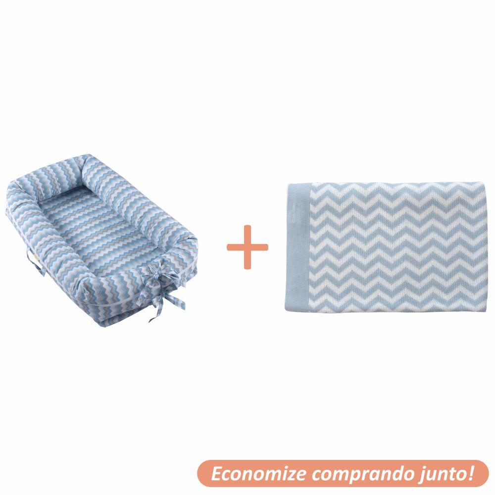 Ninho Redutor Holly + Manta Sebastian Azul Bebê c/ Branco