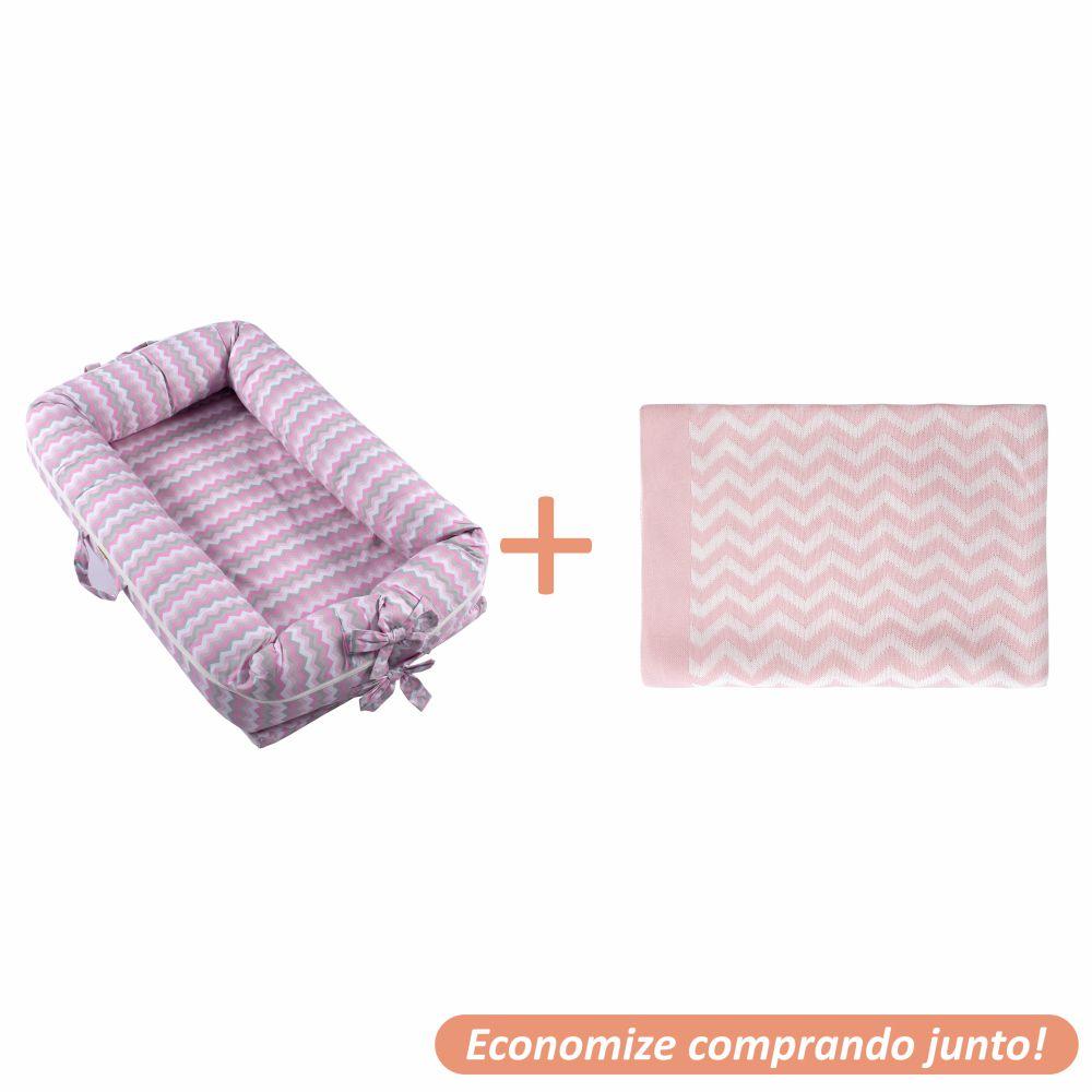 Ninho Redutor Holly + Manta Sebastian Rosa c/ Branco