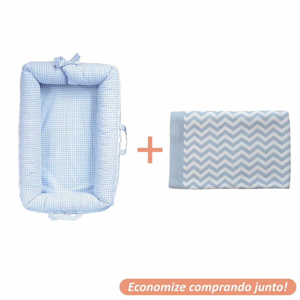 Ninho Redutor Luigi + Manta Sebastian Azul Bebê c/ Branco
