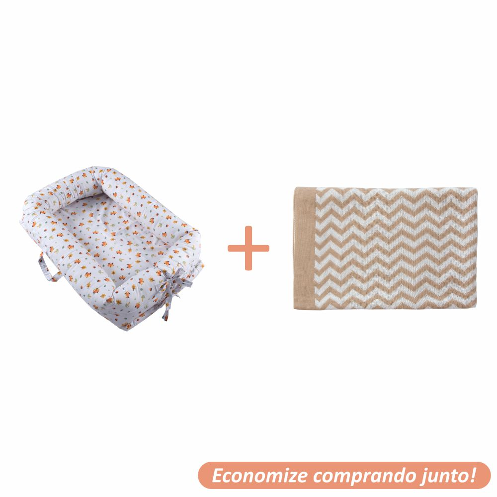 Ninho Redutor Raposinha + Manta Sebastian Bege c/ Branco