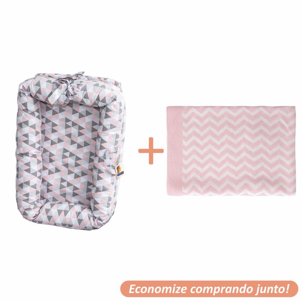 Ninho Redutor Whish + Manta Sebastian Rosa c/ Branco