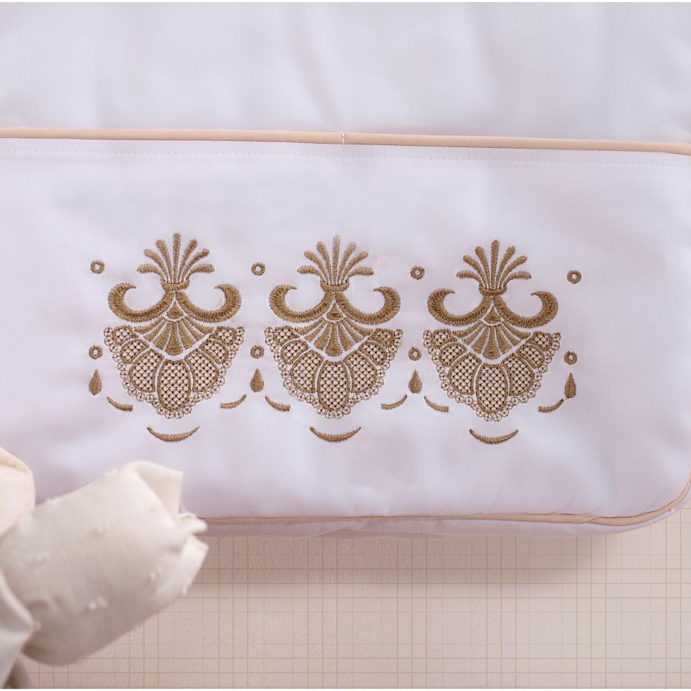 Porta Fraldas para bebê 03 peças Percal 300 Fios Elegance Branco Com Off White