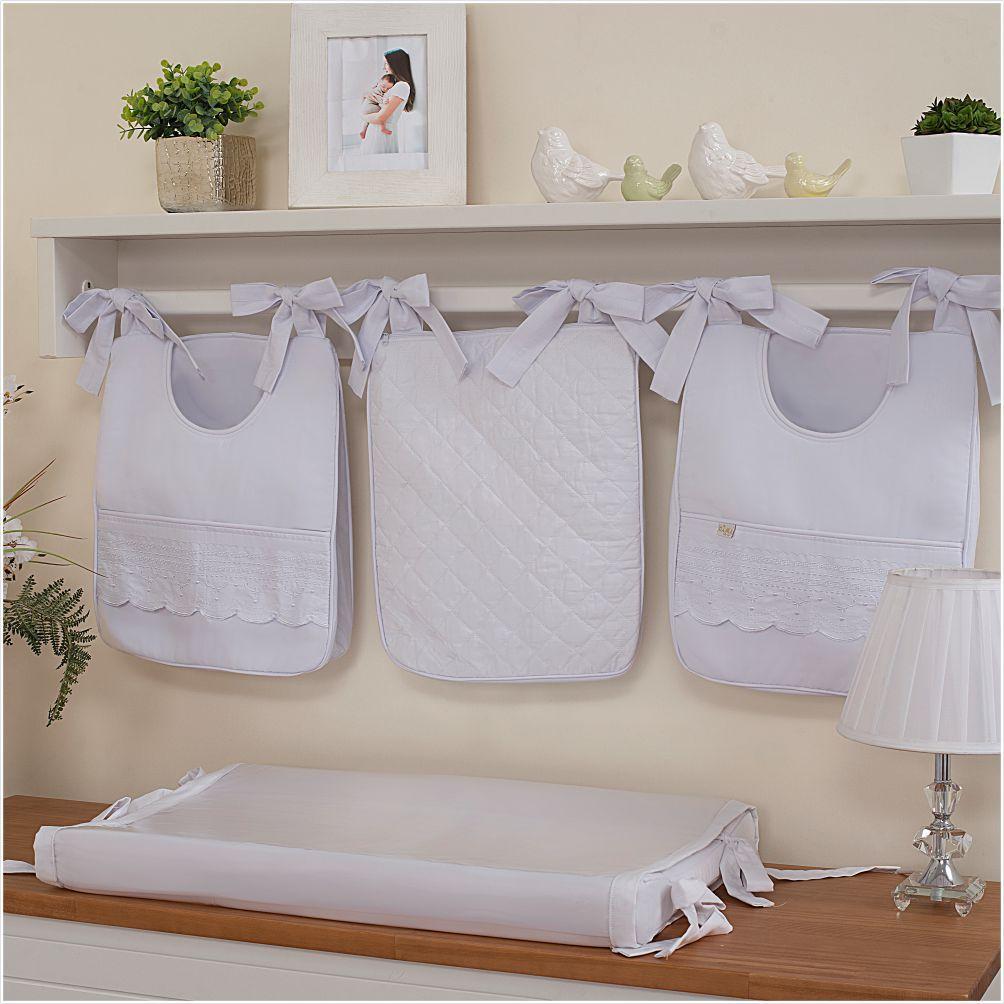 Porta Fraldas para bebê 03 peças Percal 300 Fios Versalhes Branco