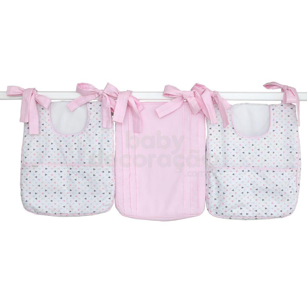 Porta Fraldas para Bebê 03 Peças Bella 180 Fios Rosa