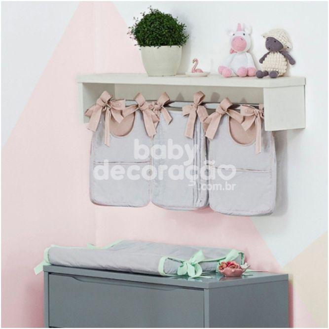 Porta Fraldas para bebê 03 peças Percal 300 Fios Chambray Cinza