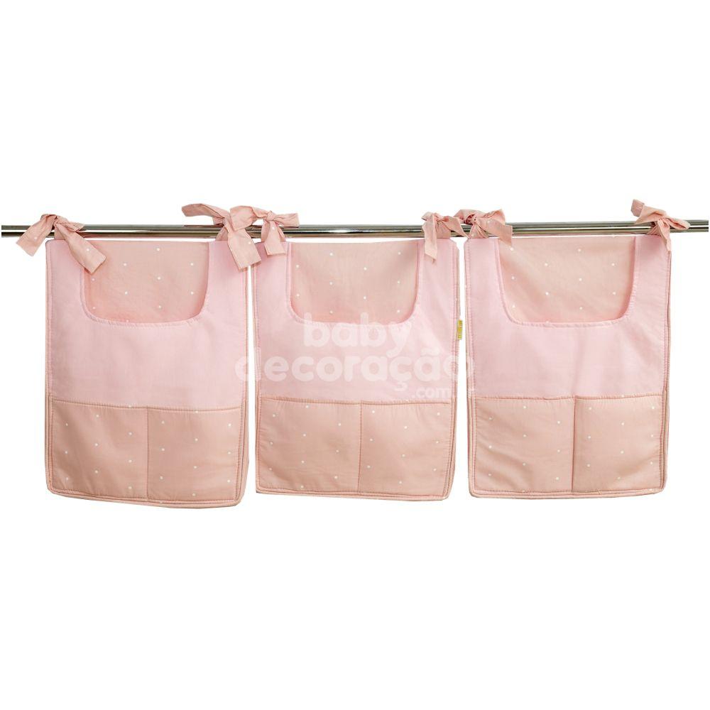 Porta Fraldas para Bebê 03 Peças Cherie 130 Fios Rosa